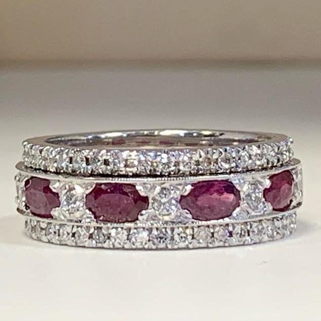 Beautiful Burmese ruby and diamond weddi