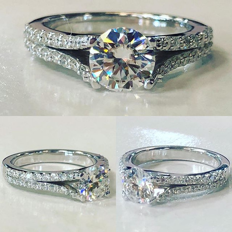 Beautiful split shank prong set diamond