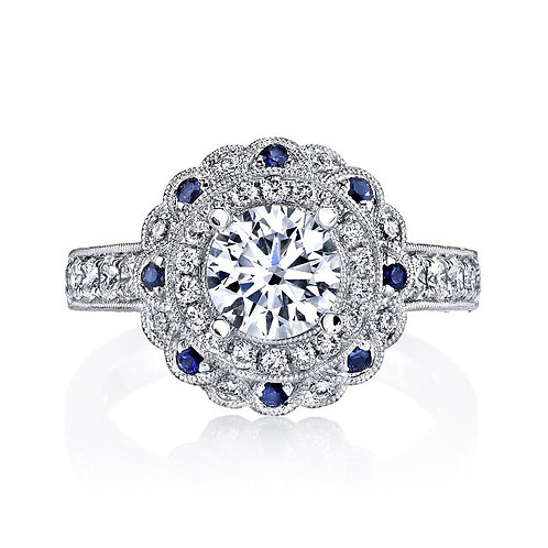 Sapphire and 14kt Moissanite Engagement Ring