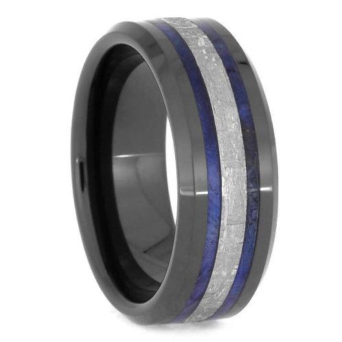 Meteorite Wood Black Ceramic Ring