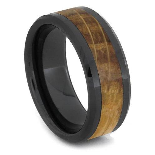 Wood Black Ceramic Ring