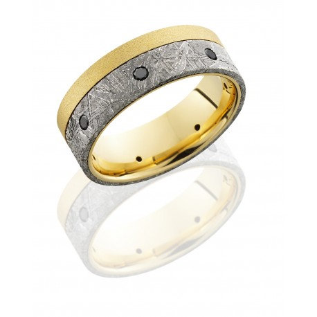 18K Yellow Gold 8mm Flat Band with 5mm Off-Center Meteorite inlay and Seven .04c
