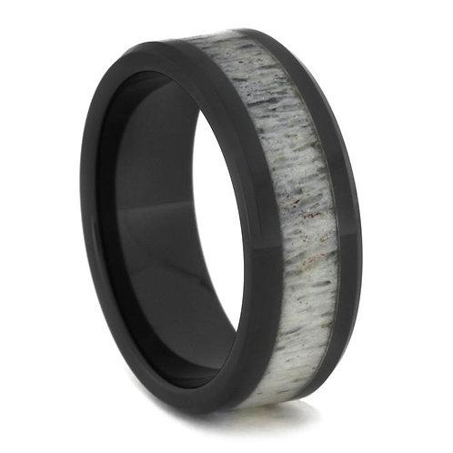Deer Antler Black Ceramic Ring