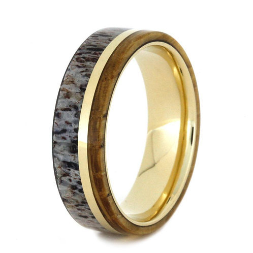 Deer Antler Wood 14kt gold Ring