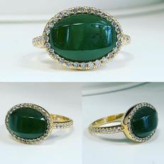 Beautiful jade and diamond ring finished