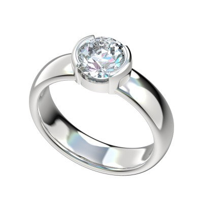 14kt Half Bezel Set Solitaire Engagement Ring