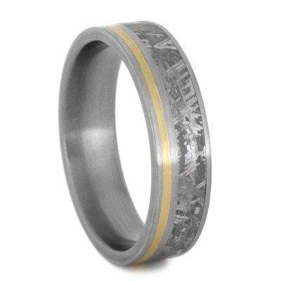 Meteorite gold  Titanium Ring