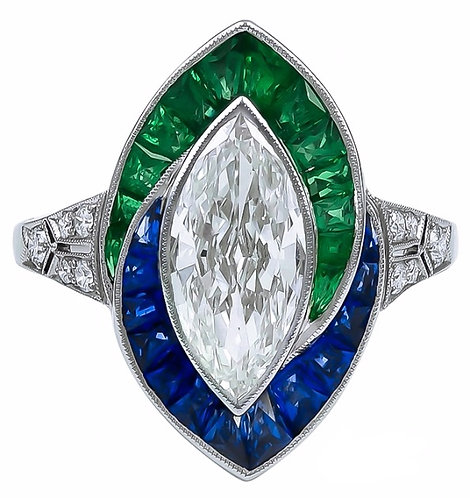 14kt Moissanite Marquise Center surrounded by Emerald and Sapphire Ring
