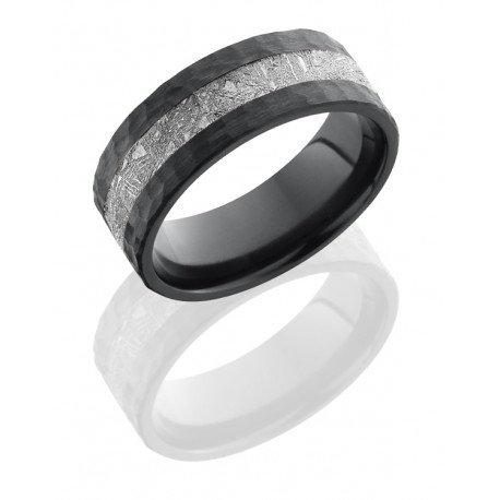 Zirconium 8mm Flat Band with 3mm Meteorite inlaycop