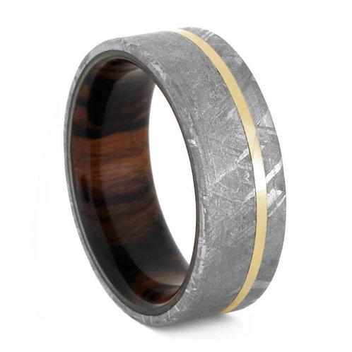 Meteorite Wood 14kt gold Ring