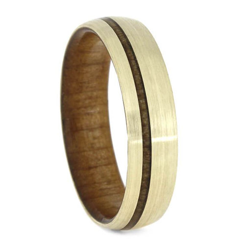 Wood 10kt gold band
