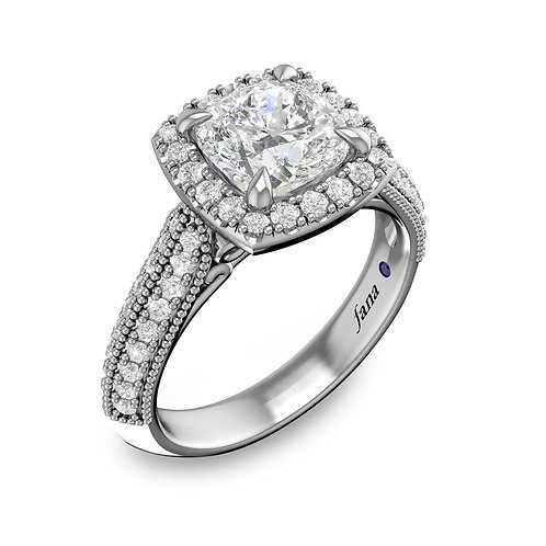 Cushion Halo and Milgrained Pave Engagement Ring