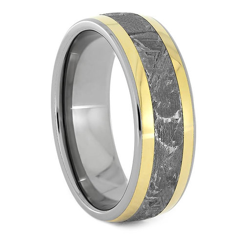 Meteorite 18kt Yellow Gold Titanium Ring