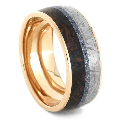 Meteorite Dinosaur Bone Gold Ring