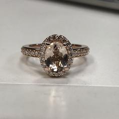 Beautiful morganite color gemstone in 14