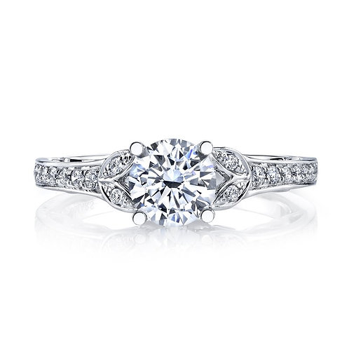14kt Modern Moissanite Engagement Ring