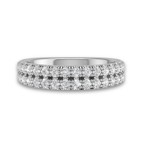 14kt Gold Double Row U-Cut Pave Wedding Band