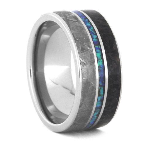 Meteorite Dinosaur Bone Titanium Opal Ring