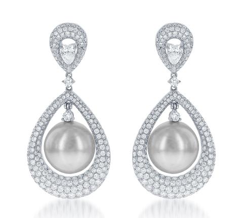 Pearls and Diamond Earrings