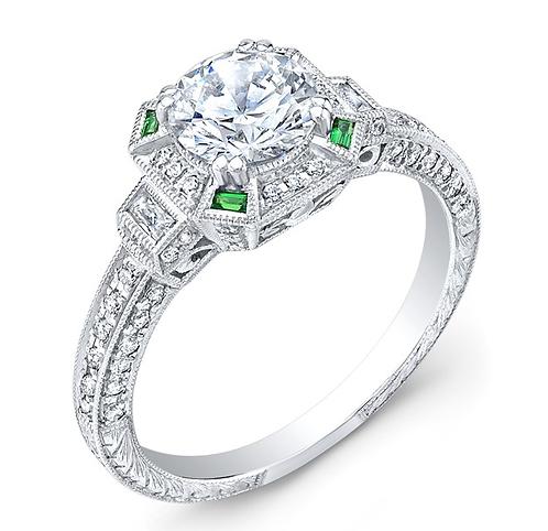 Tsavorite and 14kt Moissanite Engagement Ring