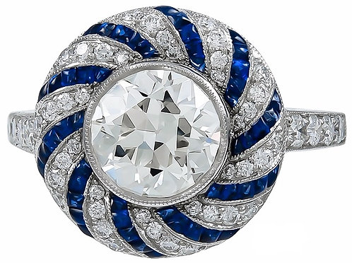 Sapphire and 14kt Moissanite Ring