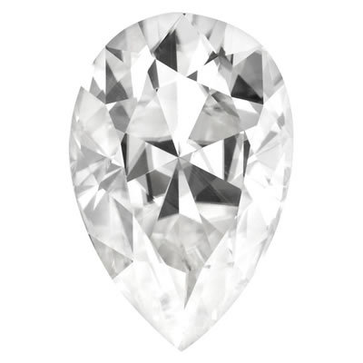 12X8mm = 3.57ct VVS1 Pear Cut Colorless Certified NEO Moissanite