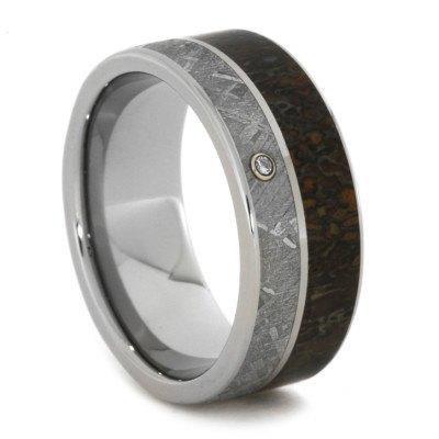 Titanium meteorite dinosaur bone diamond band