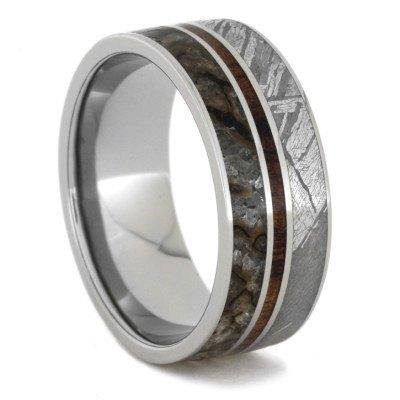 Meteorite Dinosaur Bone  Wood Titanium Ring