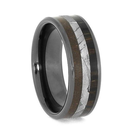 Wood Dinosaur Bone black ceramic ring