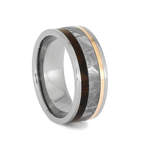 Meteorite Wood Copper Titanium Ring