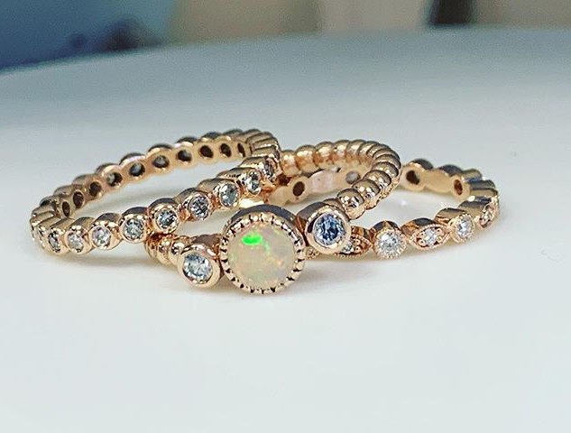 Opal rose gold ring and stackable weddin