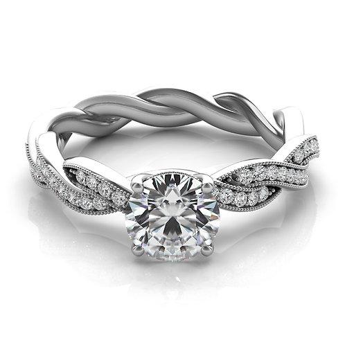 14kt Moissanite Art Deco Engagement Ring