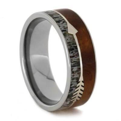 Arrow design Wood Deer Antler Titanium Ring