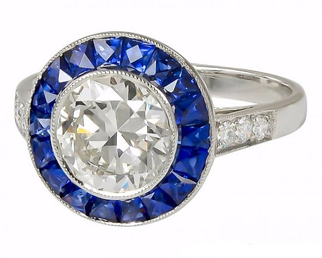 Sapphire Halo and Round 14kt Moissanite Center Ring