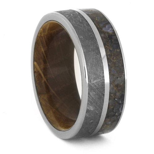 Meteorite Wood Dinosaur Bone Ring
