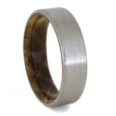Wood Sleeve Titanium Ring