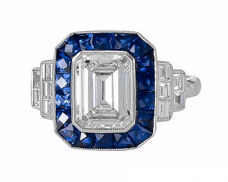14kt Moissanite Sapphire Halo and Emerald Cut Center Ring
