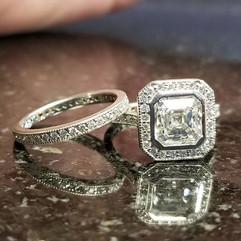 GIA certified Asscher cut diamond ring c