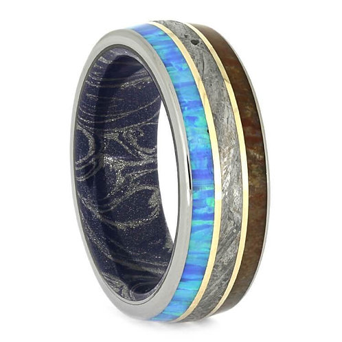 Meteorite Wood Opal 14kt Gold Titanium Ring