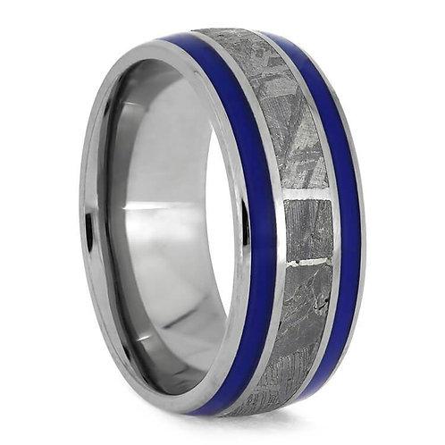 Meteorite blue enamel Titanium Ring