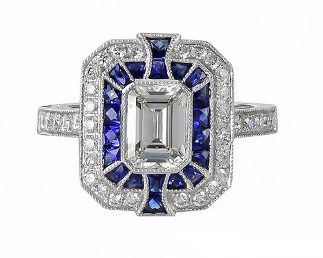 Sapphire Halo and 14kt Moissanite Center Ring
