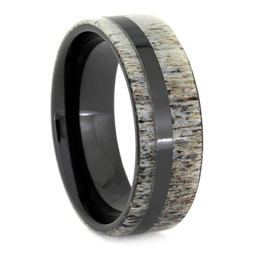Deer Antler Black Ceramic Ring