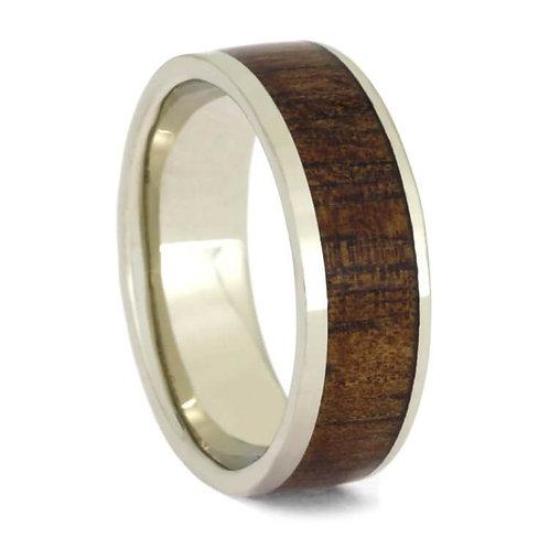 14kt White Gold Wood Ring