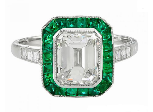 Emerald and 14kt Moissanite Ring