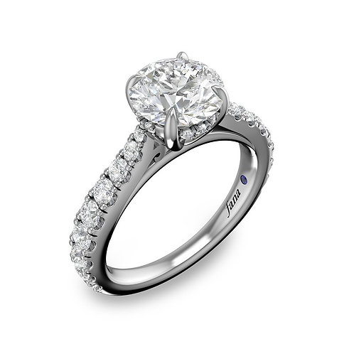 Pave and Diamond Basket Engagement Ring
