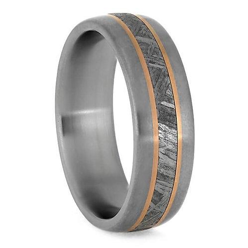 Meteorite 14kt Gold Titanium Ring
