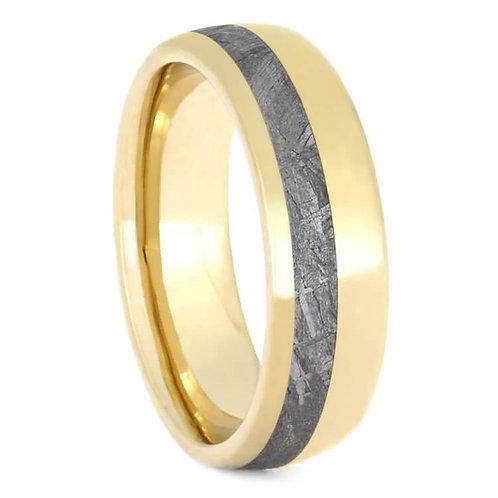 14kt Yellow Gold Meteorite Ring