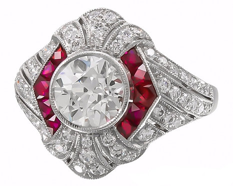 Ruby Halo and 14kt Moissanite Ring