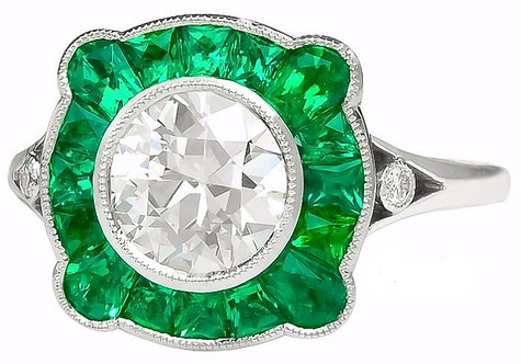 Emerald Ring with 14kt Moissanite Cut Stone