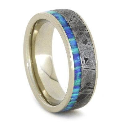 14kt White Gold Meteorite Opal Band
